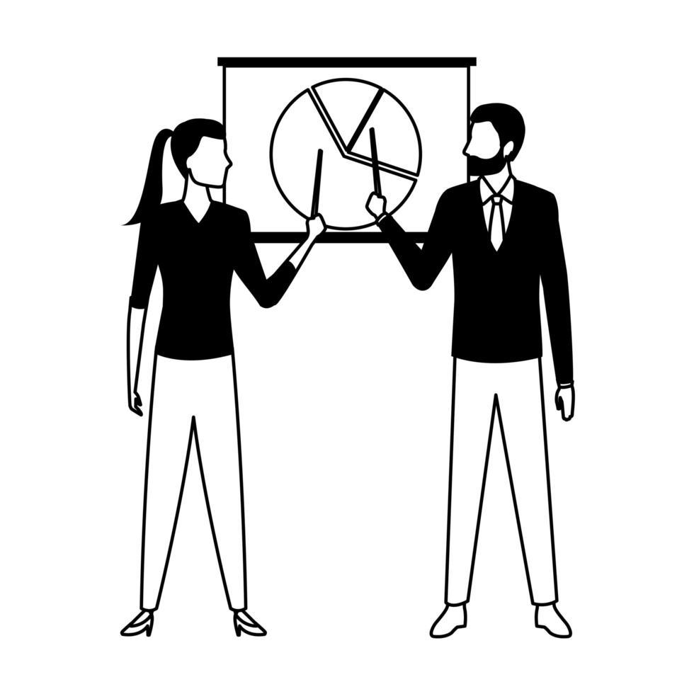 Geschäftsleute Zeichentrickfigur in Schwarzweiss vektor