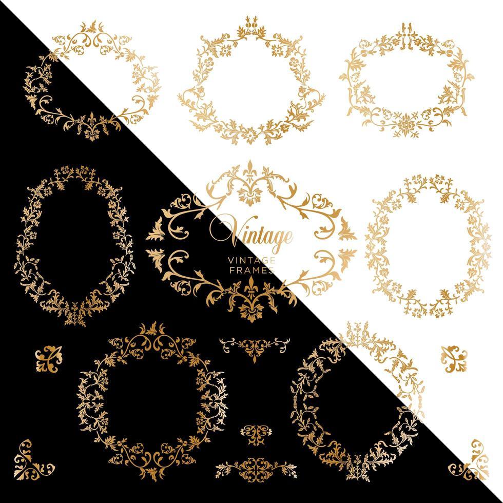 vintage guld bakgrund med antika ramar vektor