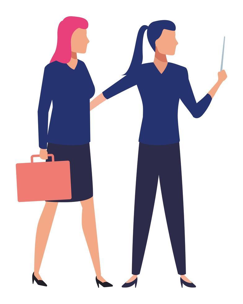 Comicfiguren von Geschäftsfrauen vektor