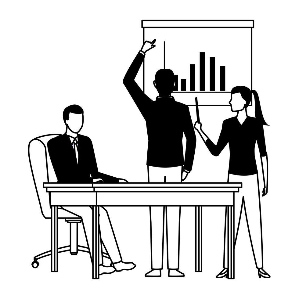 Geschäftsleute Avatare Zeichentrickfigur in schwarz und weiß vektor