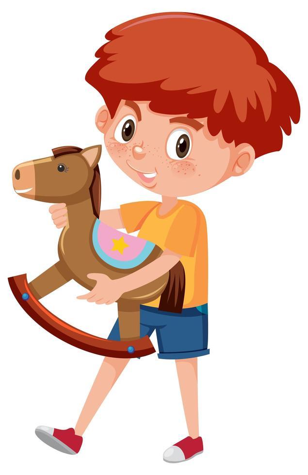 Junge, der Schaukelpferd-Zeichentrickfigur lokalisiert auf weißem Hintergrund hält vektor