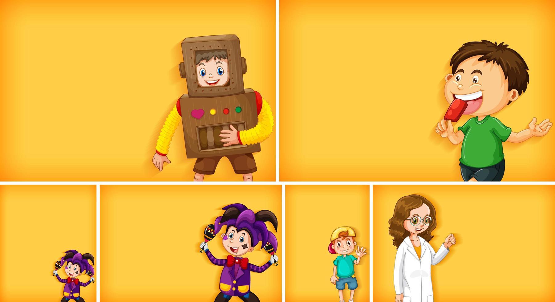 Satz verschiedene Kindercharaktere auf gelbem Farbhintergrund vektor