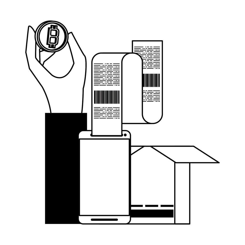 bitcoin-kryptovaluta online betalningssymboler i svart och vitt vektor