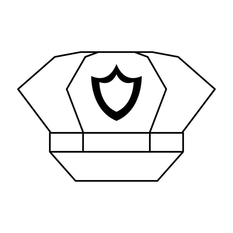 polis mössa med badge ikonen i svart och vitt vektor