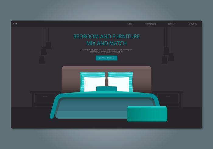 Green Headboard Schlafzimmer und Möbel Web Interface vektor