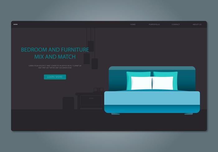 Blue Headboard Schlafzimmer und Möbel Web Interface vektor