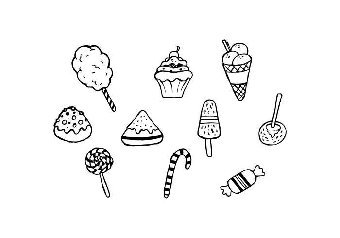 Free Sweet Food Hand gezeichnet Set Vektor
