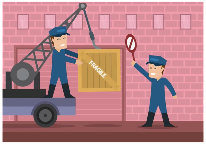 Worker Men Moving Boxes Illustration Vektor