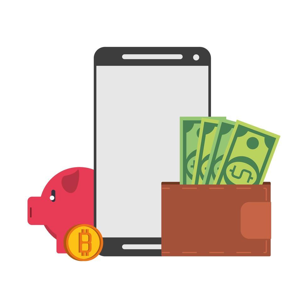 bitcoin, kryptovaluta och betalningssammansättning online vektor