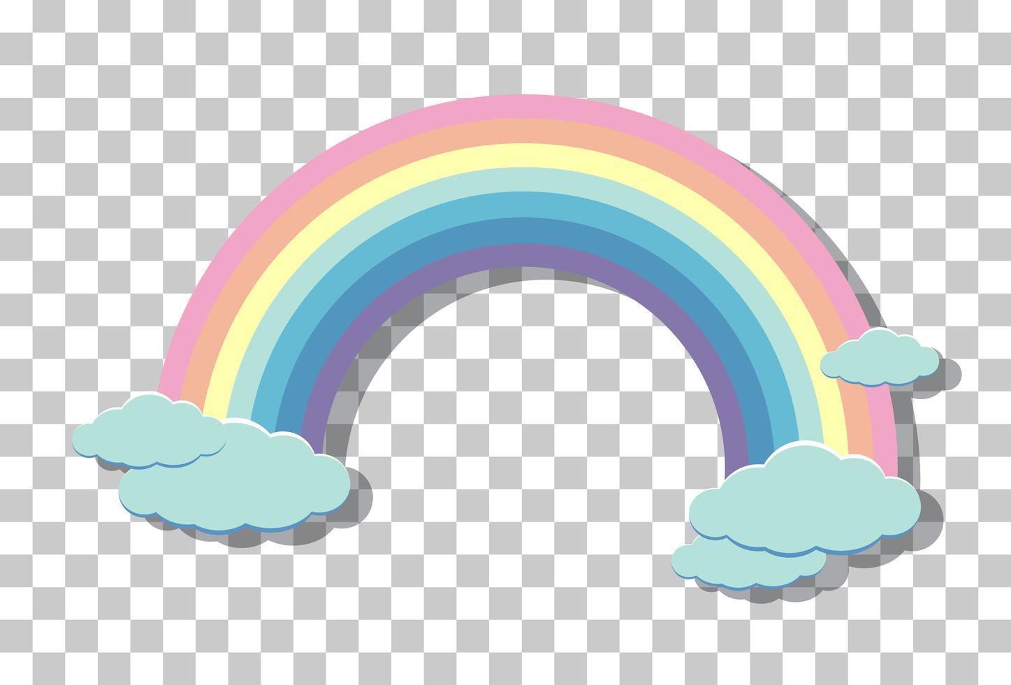 pastell regnbåge med moln isolerad på transparent bakgrund vektor