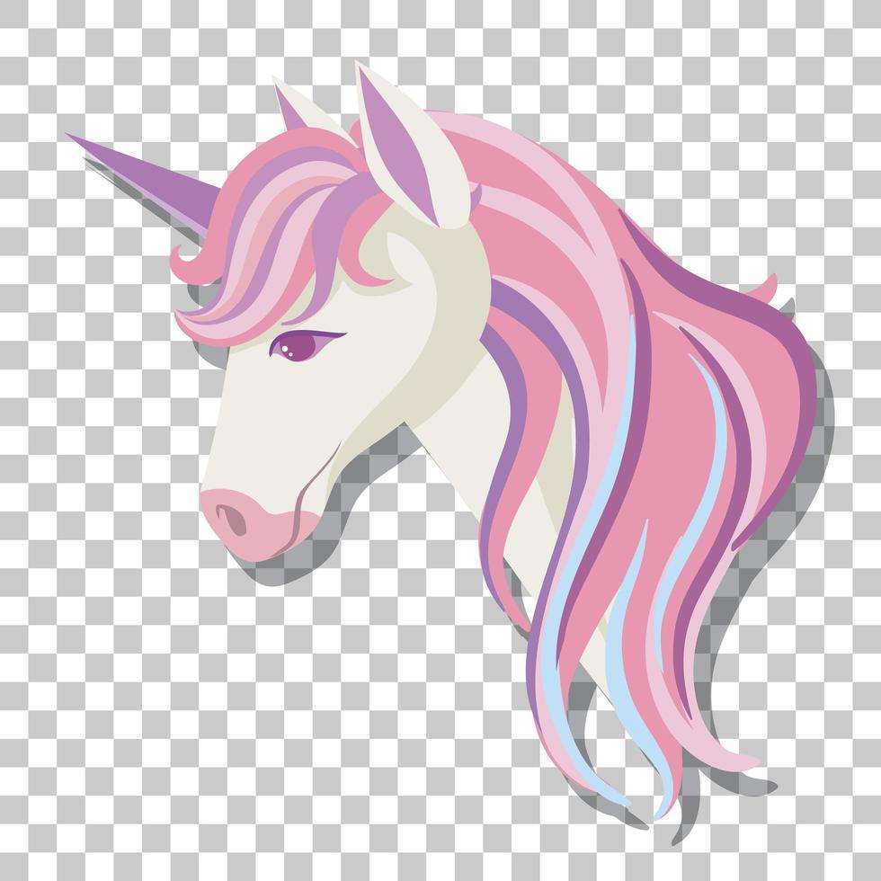 enhörning huvud med rosa man isolerad på transparent bakgrund vektor