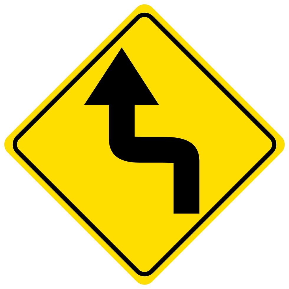 vänster bakåt sväng framåt gult tecken på vit bakgrund vektor