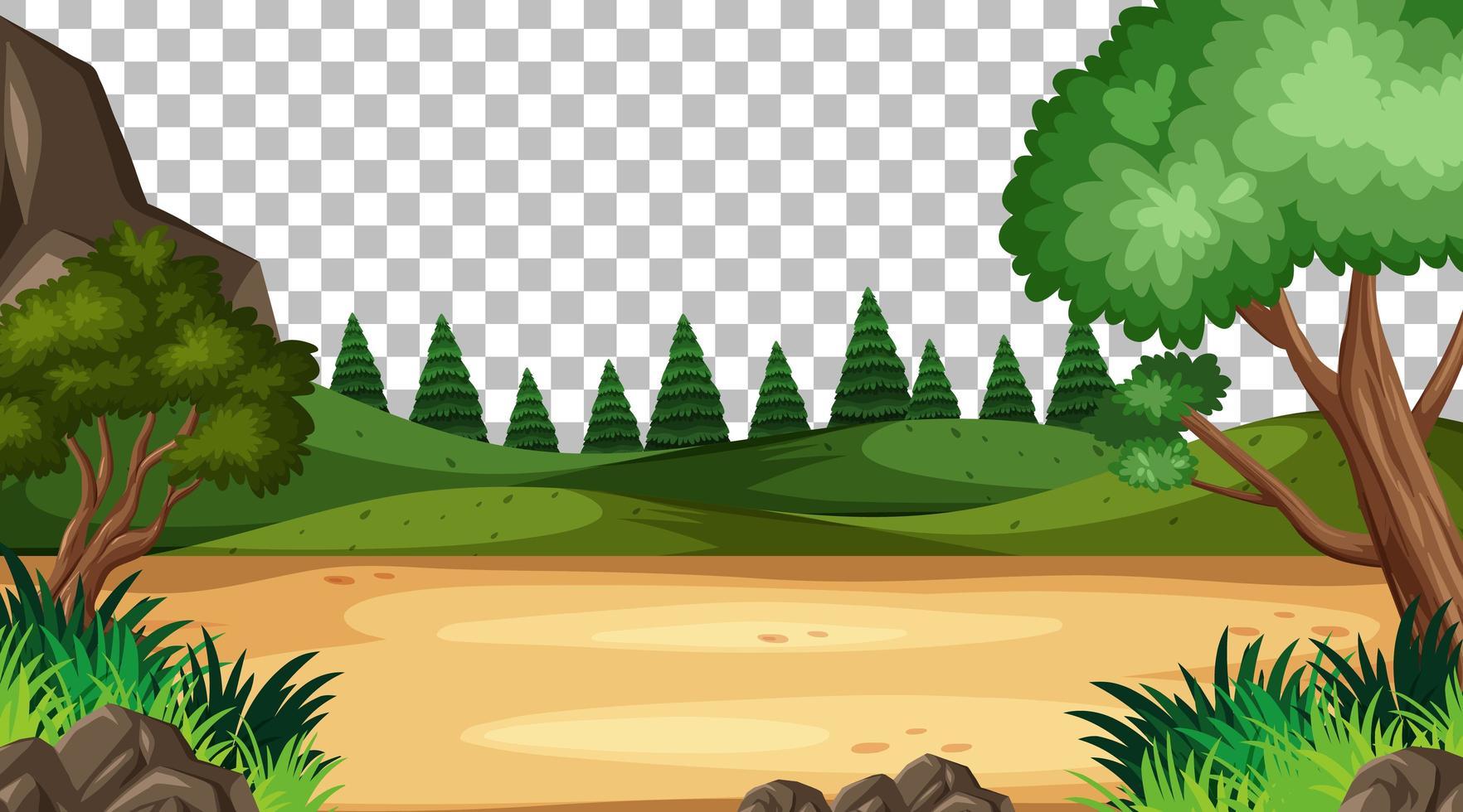 tom natur park scen på transparent bakgrund vektor
