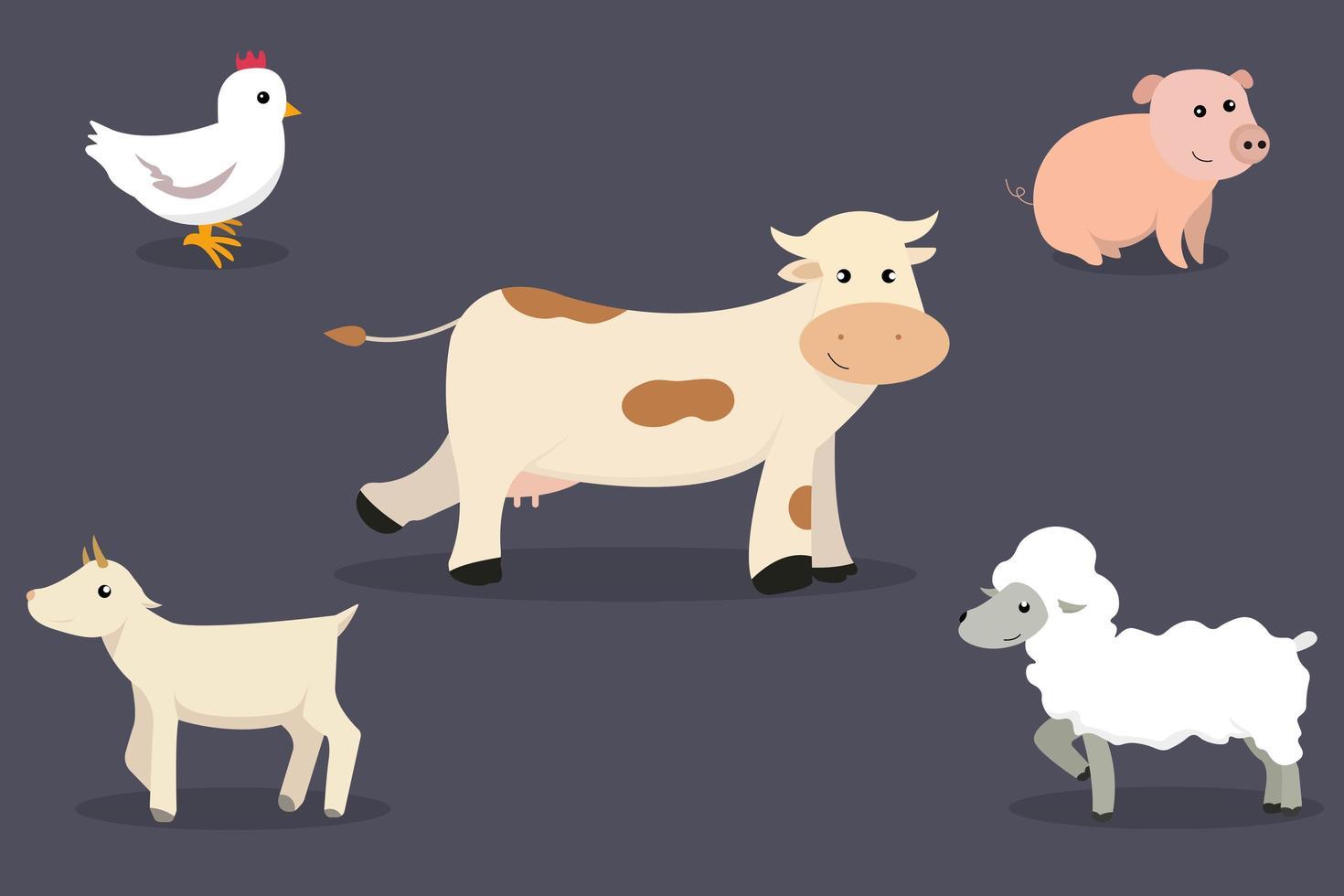 Sammlung von Nutztieren vektor