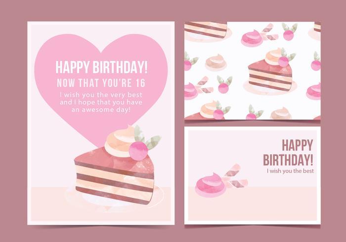 Vector Geburtstags-Kuchen-Karte