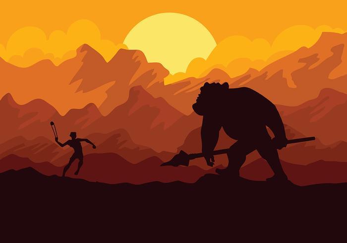David och Goliath Vector Bakgrund