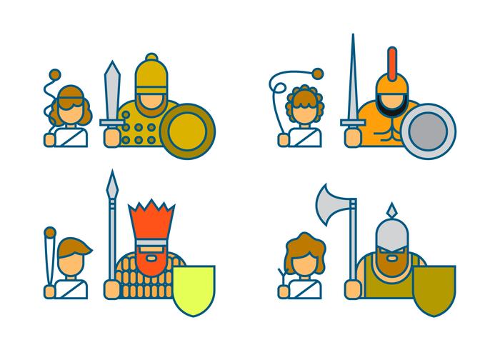 David och Goliath Icon Vector