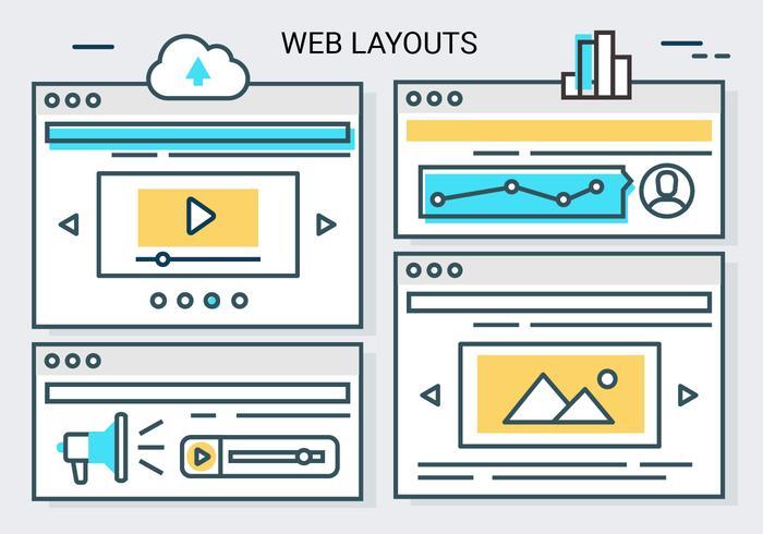 Gratis linjär webblayout vektor bakgrund