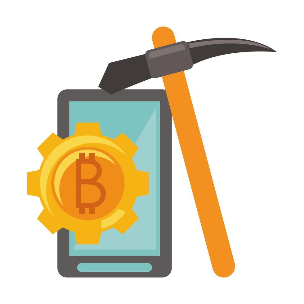 bitcoin kryptovaluta digitala pengarsymbol vektor