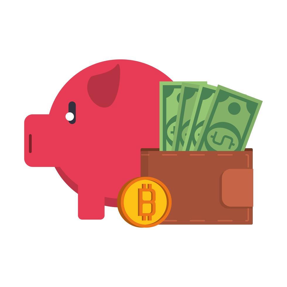 bitcoin kryptovaluta digitala pengarsymboler vektor