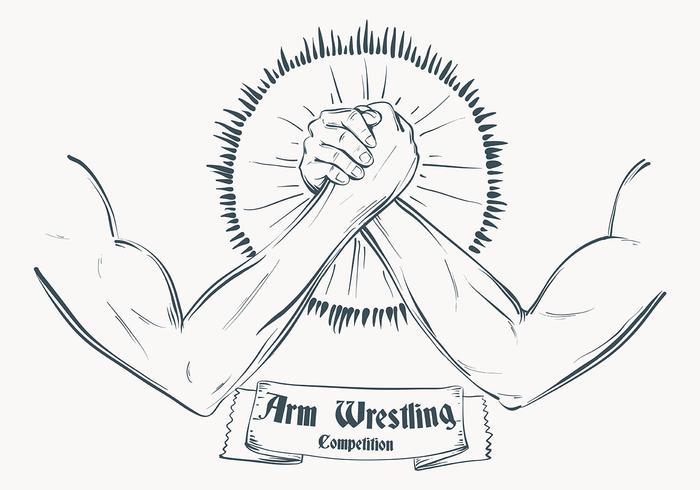 Skizzierte Arm Wrestling Illustration Schablone vektor