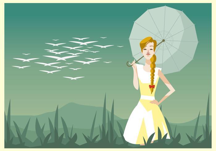 Ung vacker kvinna med en flätad och paraplyvektor vektor