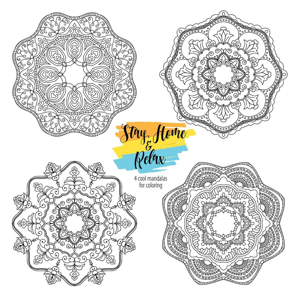 Mandala runde Blumenornamente vektor