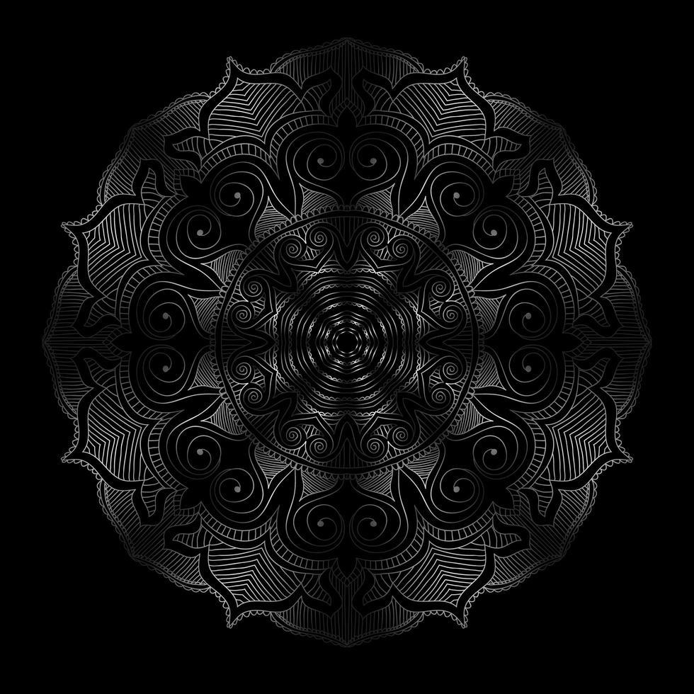 runde Blumenverzierung des dunklen Mandalas vektor