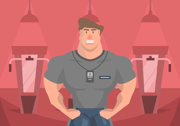 Muscleman Personlig Trainer Illustration vektor