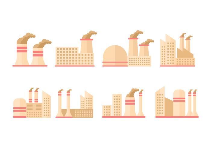 Industribyggnad med rökstack vektor