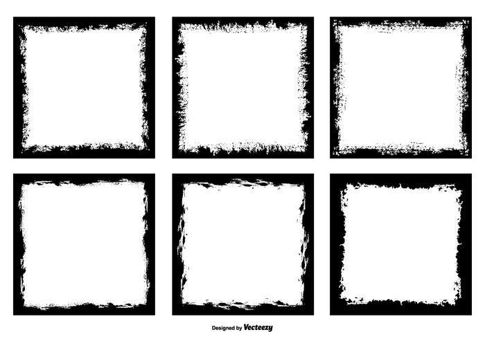Grunge stil fotoram kanter vektor