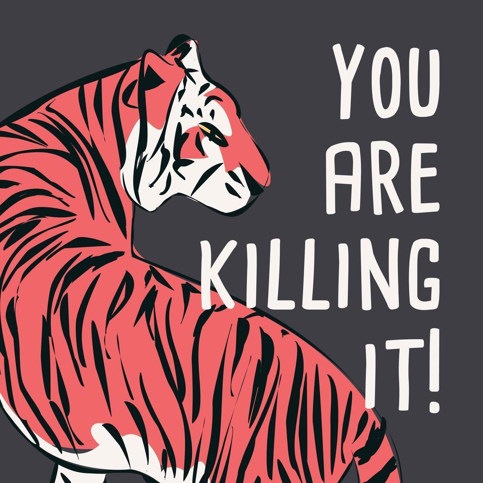 handritad tiger med feministisk fras och budskap vektor