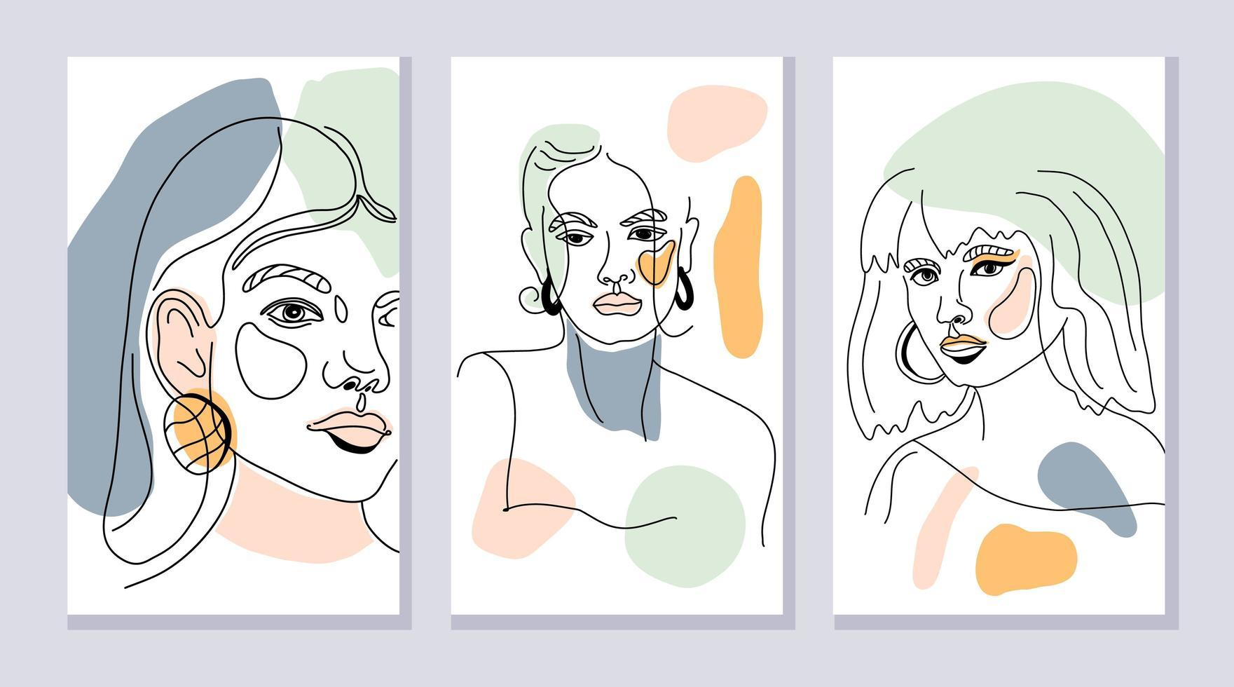 uppsättning kvinnliga ansikten vektor