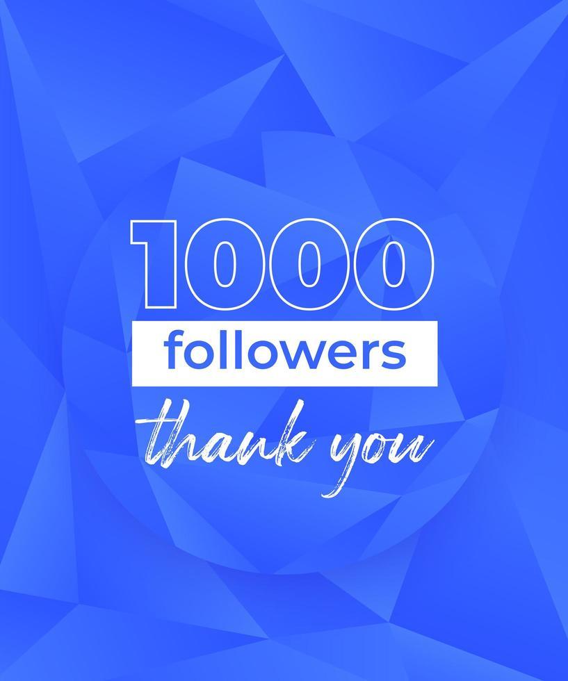 1000 följare, banner för sociala nätverk, polygonal design vektor