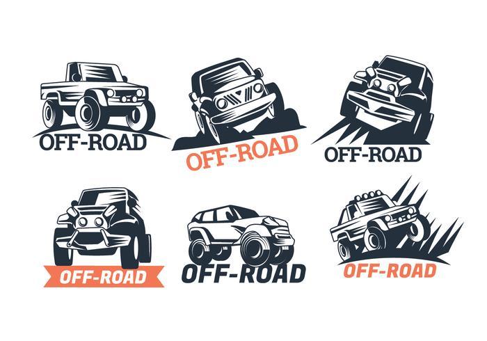 Set von sechs Off-Road Suv Logos isoliert auf weißem Hintergrund vektor