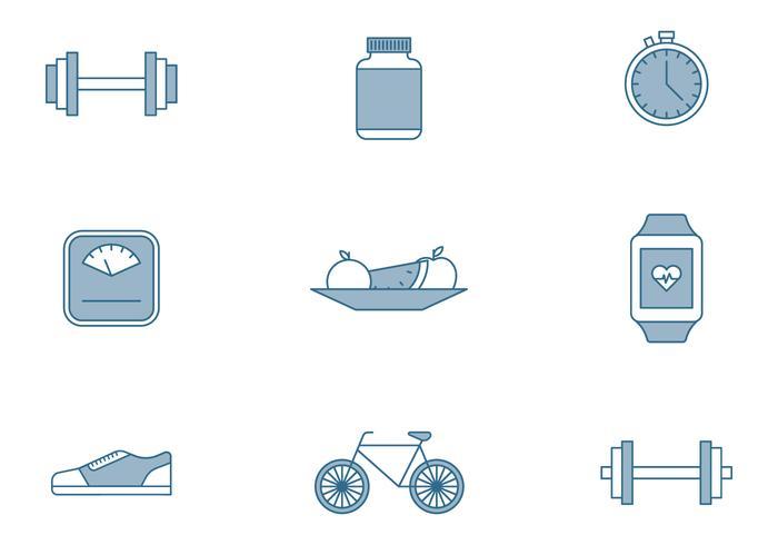 Fitness-Elemente Icons vektor