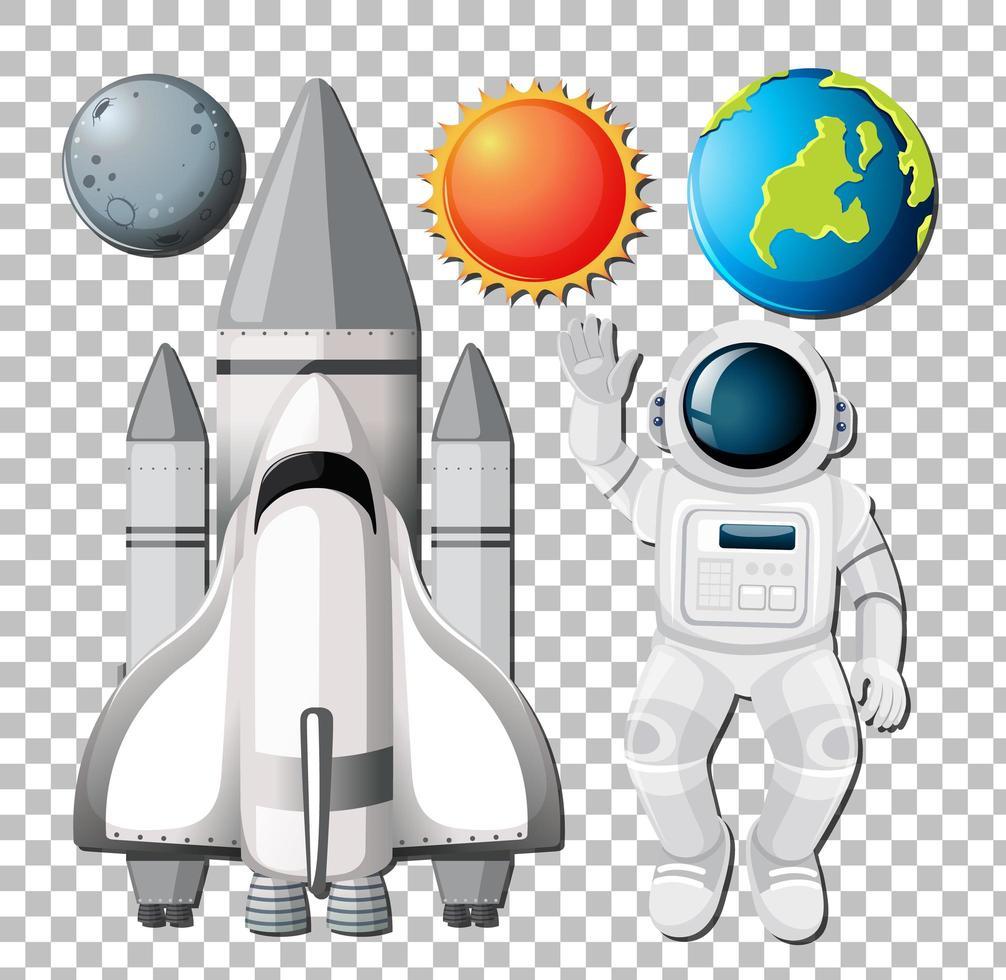 uppsättning rymdelement med astronuat på transparent bakgrund vektor