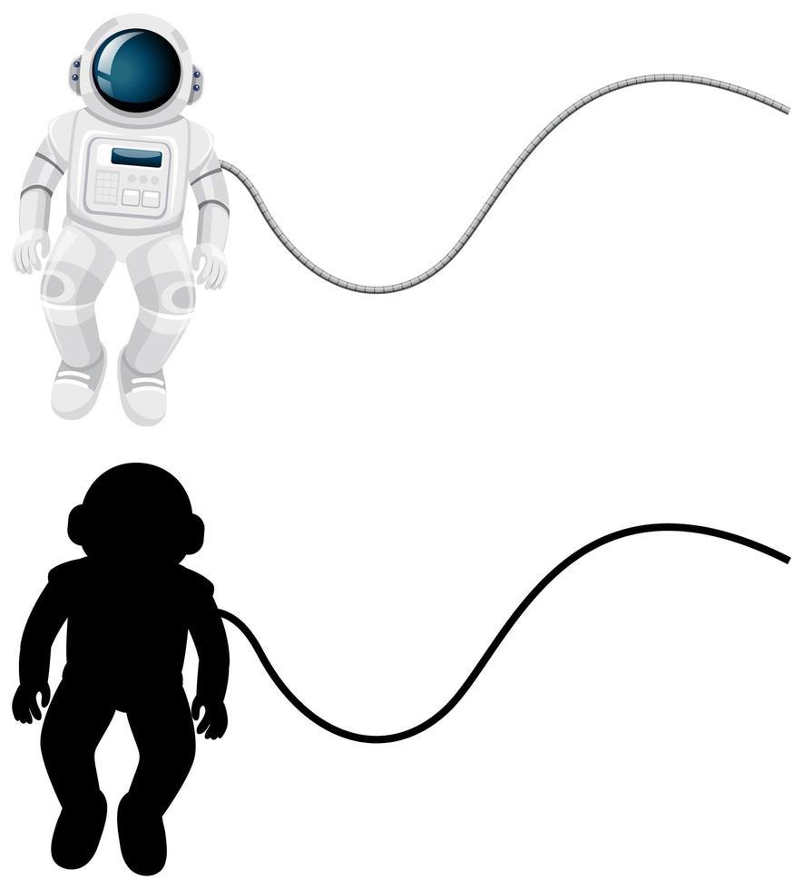 uppsättning astronautkaraktärer och dess silhuett på vit bakgrund vektor