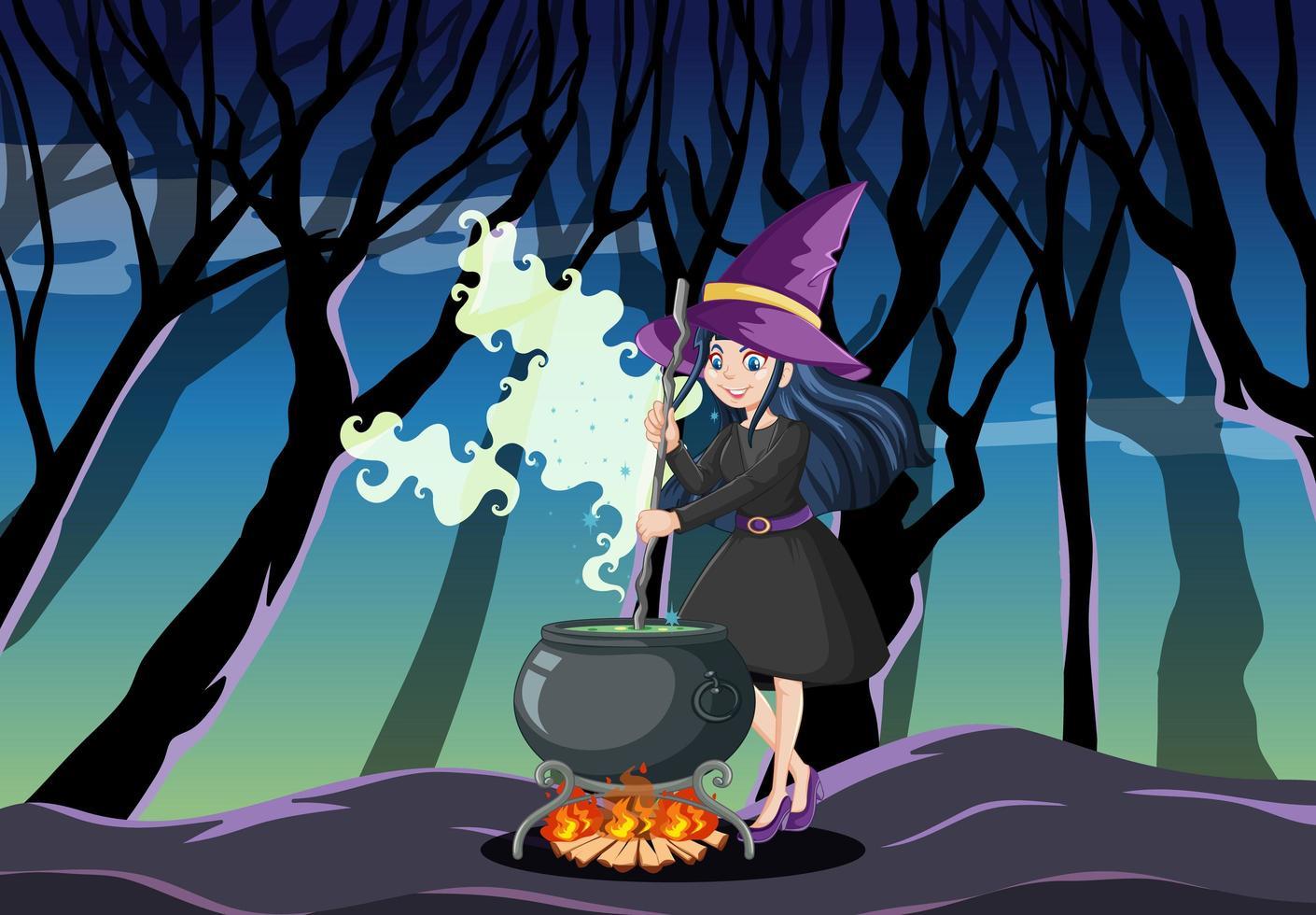 junge schöne Hexe mit schwarzem magischen Topfkarikaturstil auf dunklem Dschungelhintergrund vektor