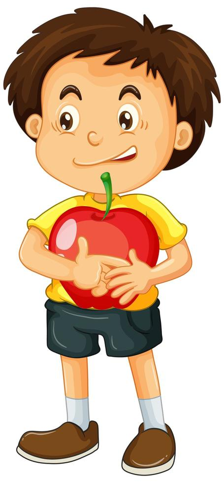 Junge, der Apfel auf weißem Hintergrund hält vektor