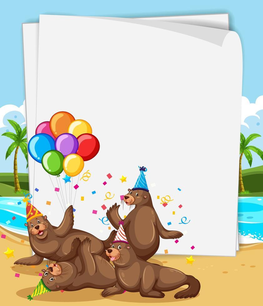 pappersmall med söta djur i partytema vektor