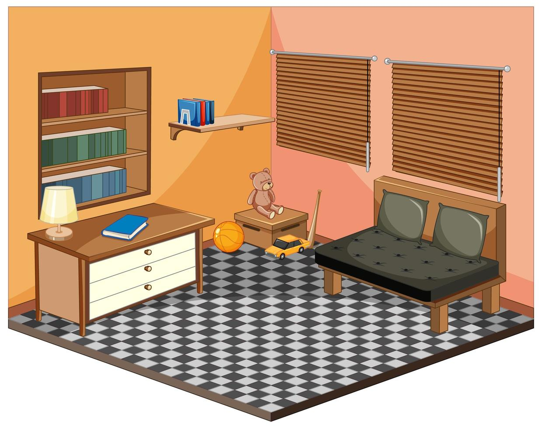 vardagsrum med isometrisk inredning vektor