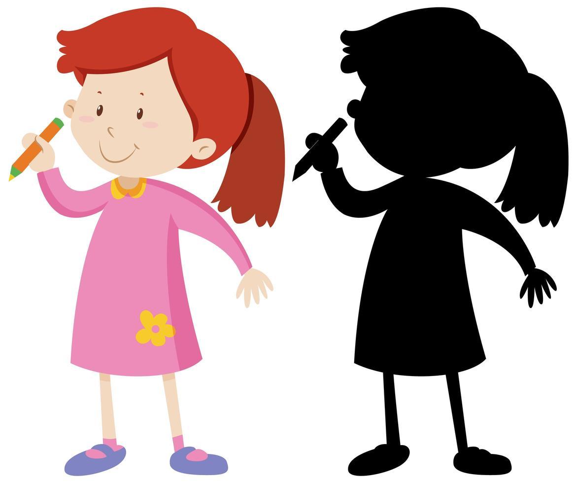 Mädchen hält Bleistift und seine Silhouette vektor
