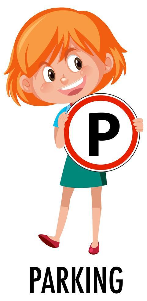Mädchen, das Verkehrszeichen lokalisiert auf weißem Hintergrund hält vektor
