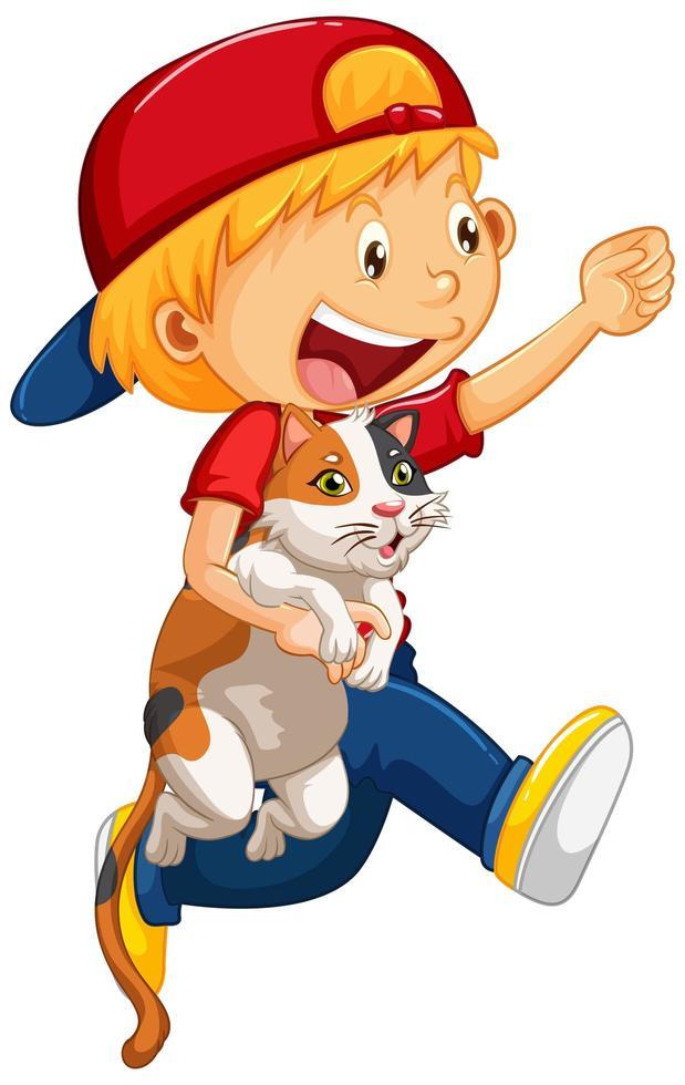 glücklicher Junge mit seiner Katze isoliert vektor