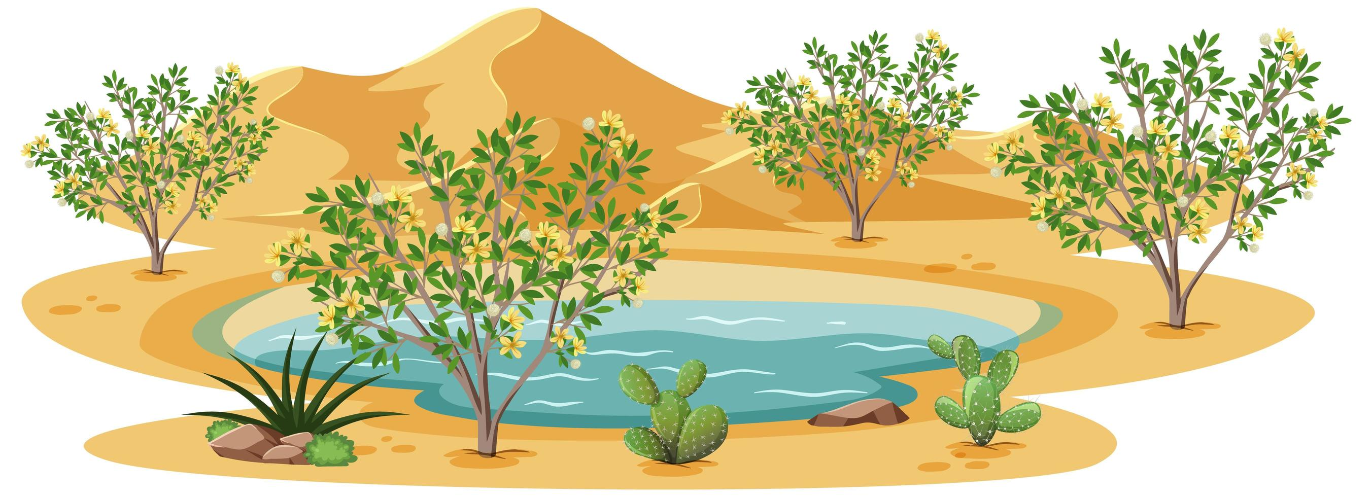 kreosot buskeväxt i vild öken på vit bakgrund vektor