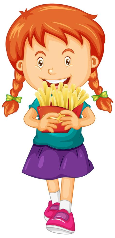 flicka som håller pommes frites vektor