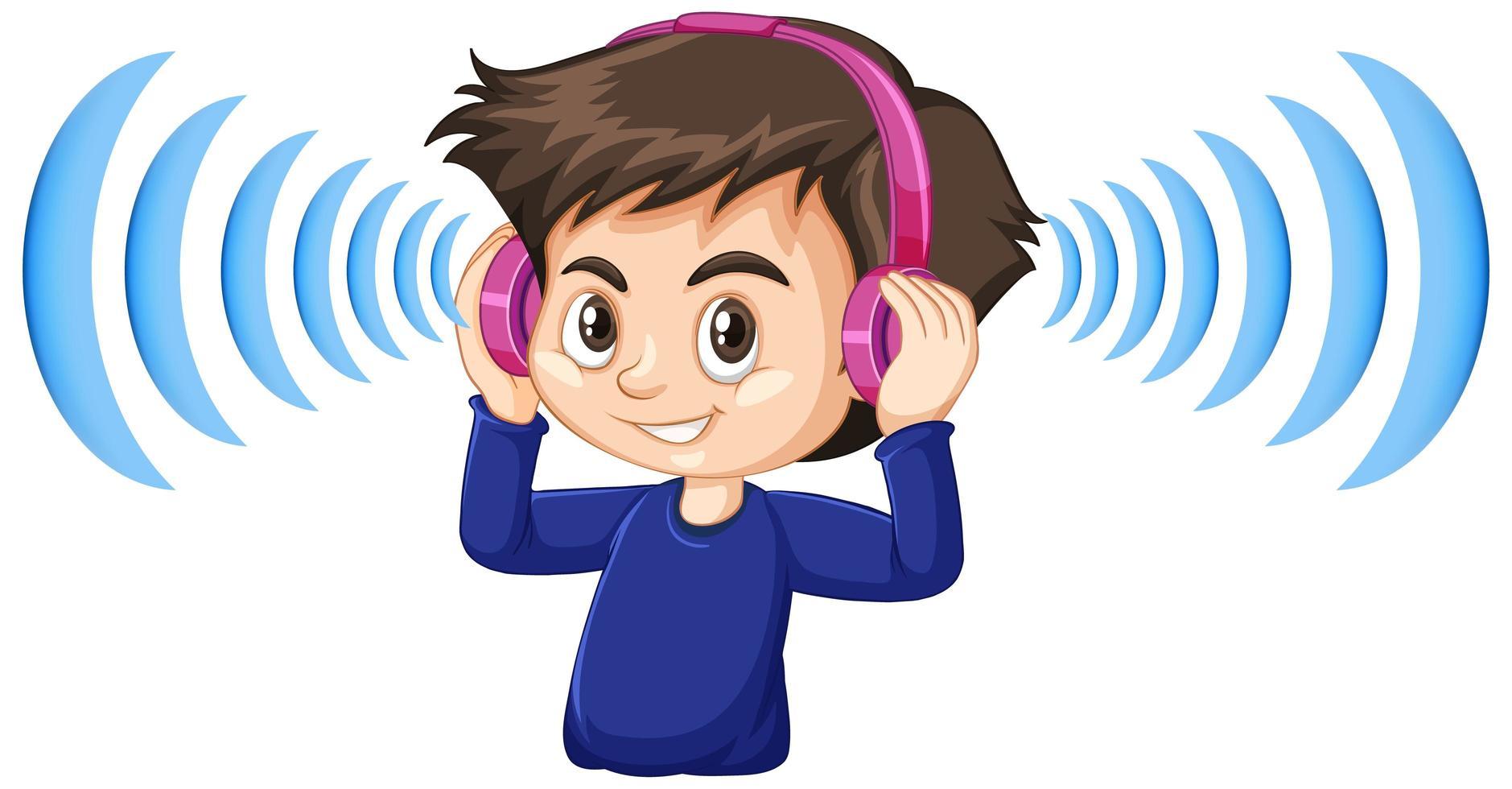 Junge mit geräuschunterdrückenden Kopfhörern vektor