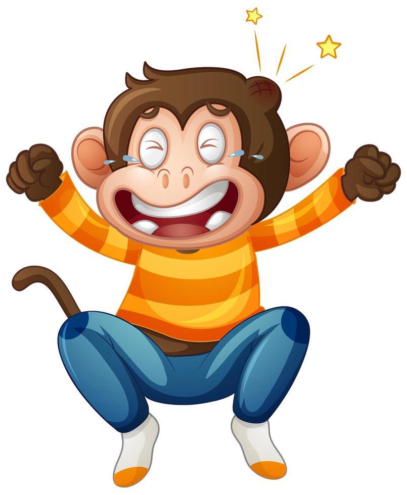 ein niedlicher Affe, der T-Shirt-Zeichentrickfigur auf weißem Hintergrund trägt vektor