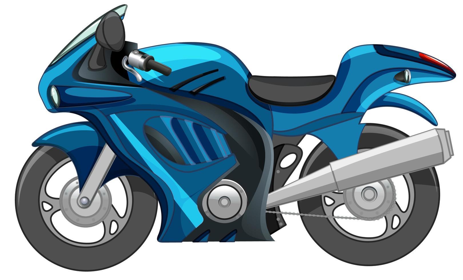 blaues Motorrad oder Rennrad lokalisiert auf weißem Hintergrund vektor